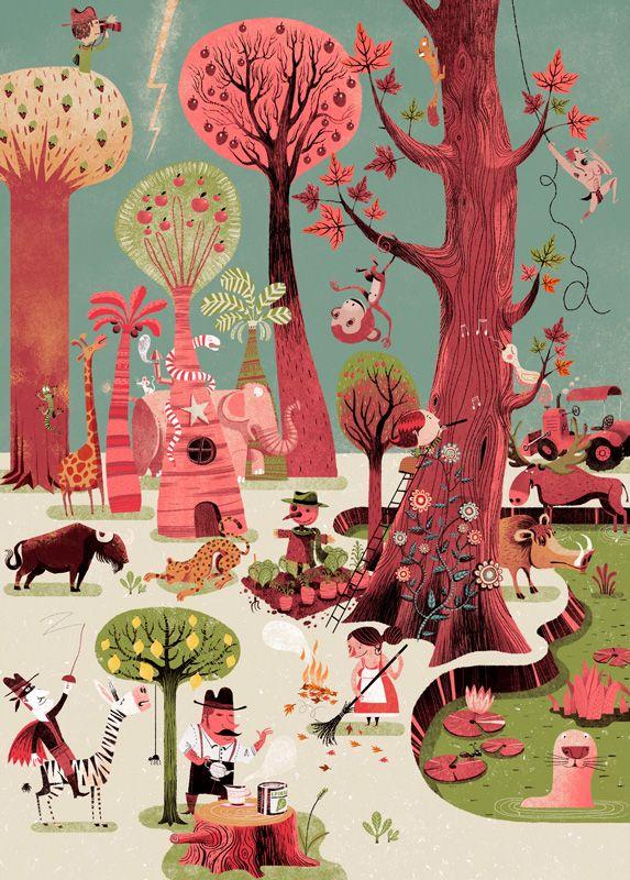 Affiche illustration jeunesse - Gwen Keraval, Happywood - L'Affiche Moderne