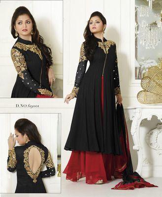 black embroidered net semi stitched salwar with dupatta - http://bit.ly/1SXDuF8
