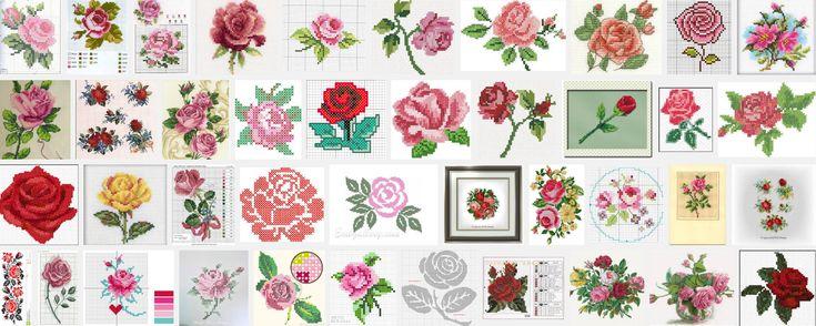 Borduurpatroon roos en garen om direct aan de slag te gaan. Kleine borduurwerkjes kunnen cadeautjes,kaarten, spijkerbroeken, blouses,