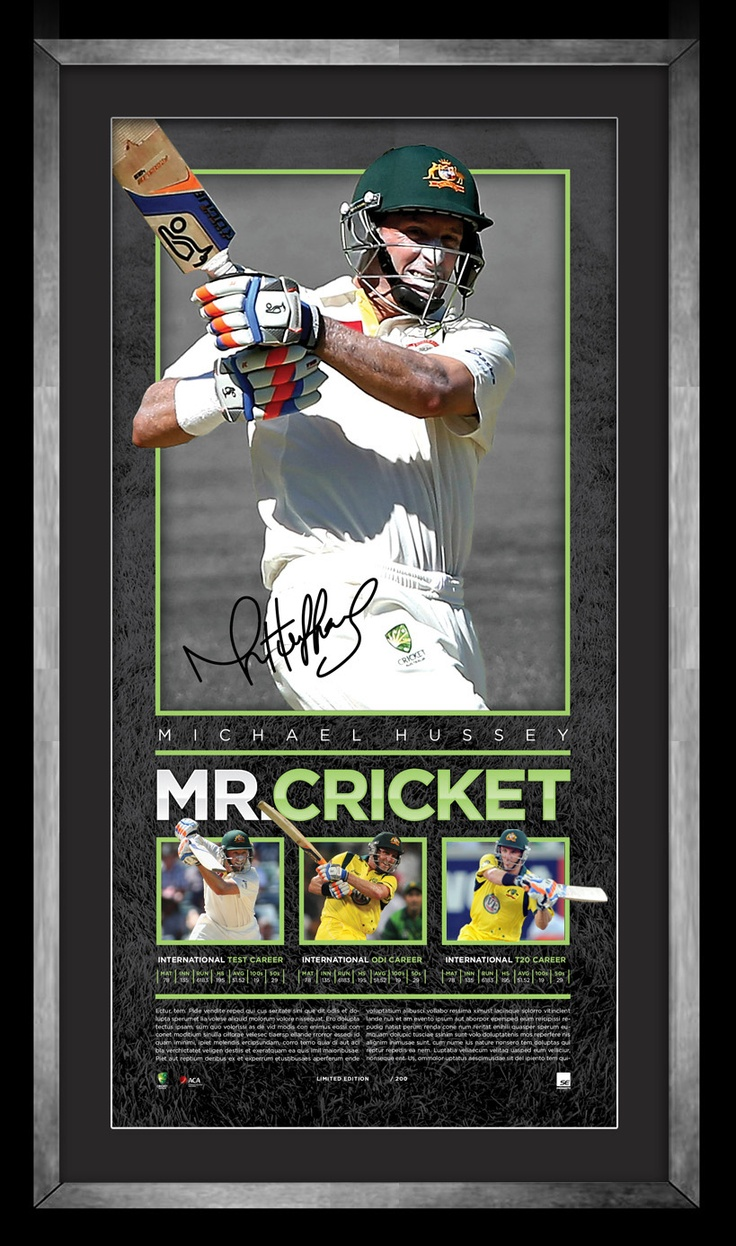 Michael Hussey has enjoyed an extraordinary international career in which he displayed unsurpassed class and determination; put simply it can be summarised as excellence. With a release of just 200 personally signed lithographs to celebrate and commemorate the outstanding career of Hussey. Personally signed by Michael Hussey Magnificently Officially licensed by Cricket Australia Accompanied by Certificate of Authenticity Protected and authenticated by A-Tag Approx framed dimensions 750mm x…