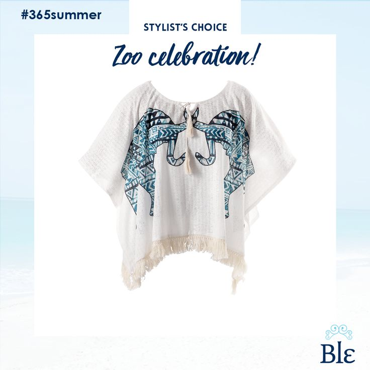 Animal patterns make a dynamic comeback. Go for inspiring designs such as the one in the image below –two elephants facing each other- and pair it with a simple pair of shorts and a scarf. Find the combo here www.ble-shop.com