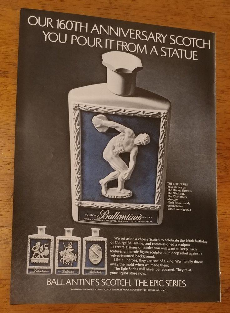 1969 Ballantines 160th anniversary Scotch or Remington Razor Original Print Ad