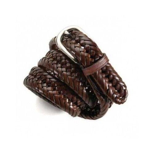 Wrangler Men's Genuine Leather Tubular Braided Belt Brown #Wrangler
