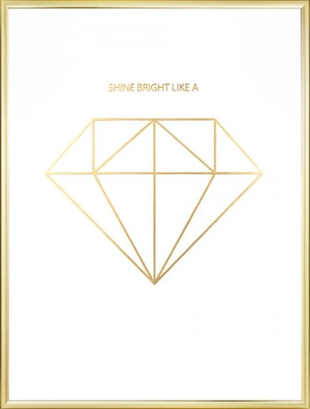 Poster with a golden diamond. One of our most popular gold print! Fund more treny prints at www.desenio.com