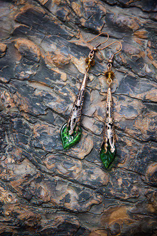 """Купить Серьги """"В лесу"""" - зеленый, серьги, зеленые серьги, серьги с листьями, купить серьги"""