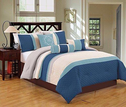 jbff bed in bag microfiber luxury comforter set queen 7 piece navy - Queen Bed Comforter Sets
