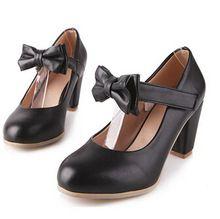 hete mary janes gesp riem lage hak pompen vrouwen lolita bowknot schoenen plus siz zoete boog dikke hak casual carrière werkschoenen(China (Mainland))