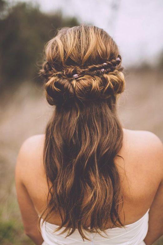 15 Natural Wedding Hair Styles: Mythical twist and bun half up half down wedding...