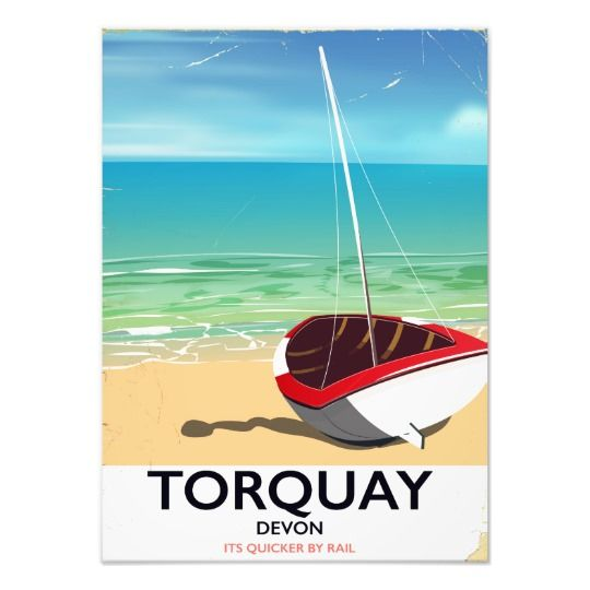Torquay Devon vintage seaside travel poster Photo Print
