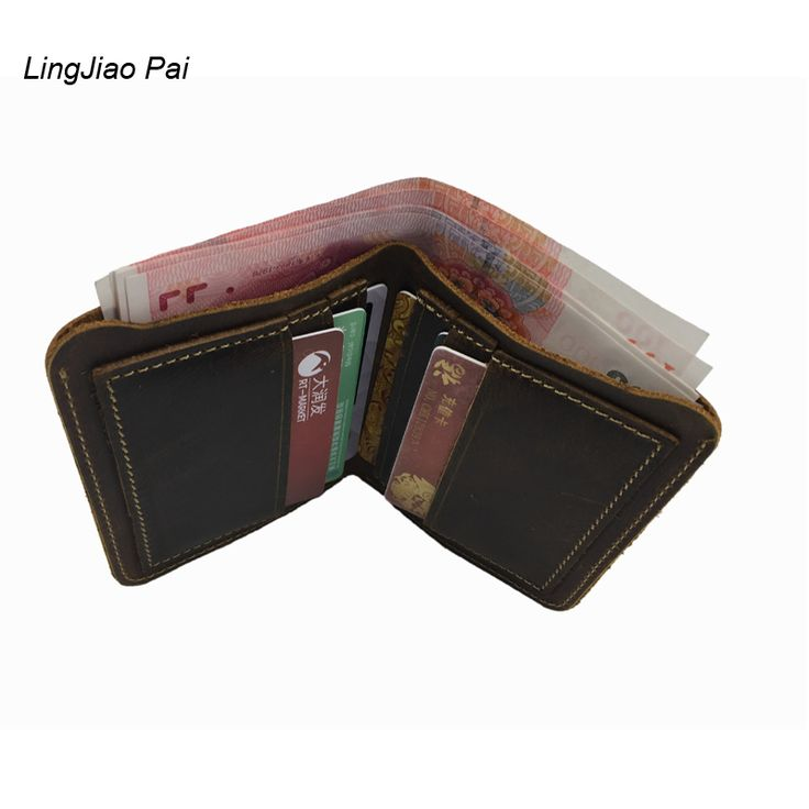 LingJiao Pai Travel Crazy Cow Skin Mens Slim Wallet Handmade Waterproof Mini Genuine Leather Wallet With Card Pock Holder