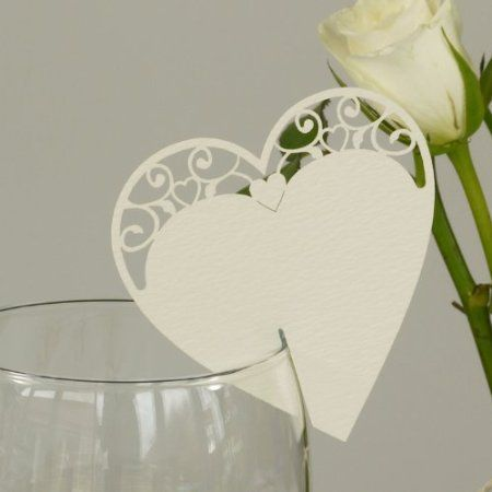 Ivory Vintage Heart Place Cards for Glass. Wedding Name Place Cards by Paper Baker. Pack of 10: Amazon.co.uk: Kitchen & Home