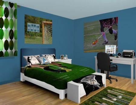 An Exciting And Fast Paced Vibe Is Captured In This Lacrosse Themed Bedroom Making It