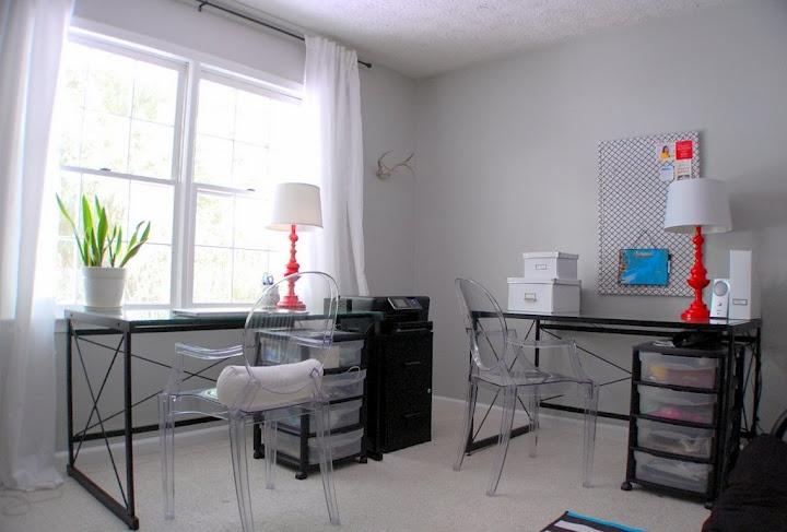 Office Makeover under $150  Benjamin Moore Stonington Gray  ghost chairs  VIVAN curtains