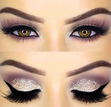 Glitter Eye Makeup Look for New Year's Eve