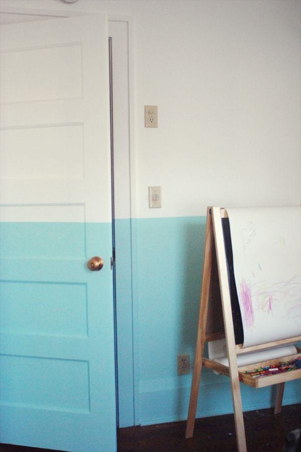 half colour wall >> Love that it follows through along the door as well. Great detail.    make an ocean/horizon wall :)))