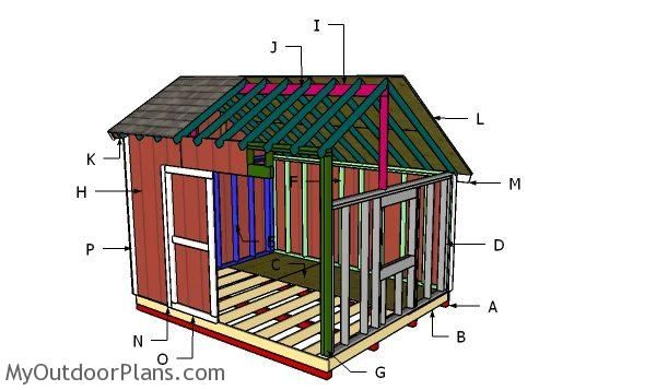 10x12 Saltbox Shed Roof Plans Myoutdoorplans Free Woodworking Plans And Projects Diy Shed Wooden Playhouse Pergol Pergola Shed Plans Pergola Shade Cover