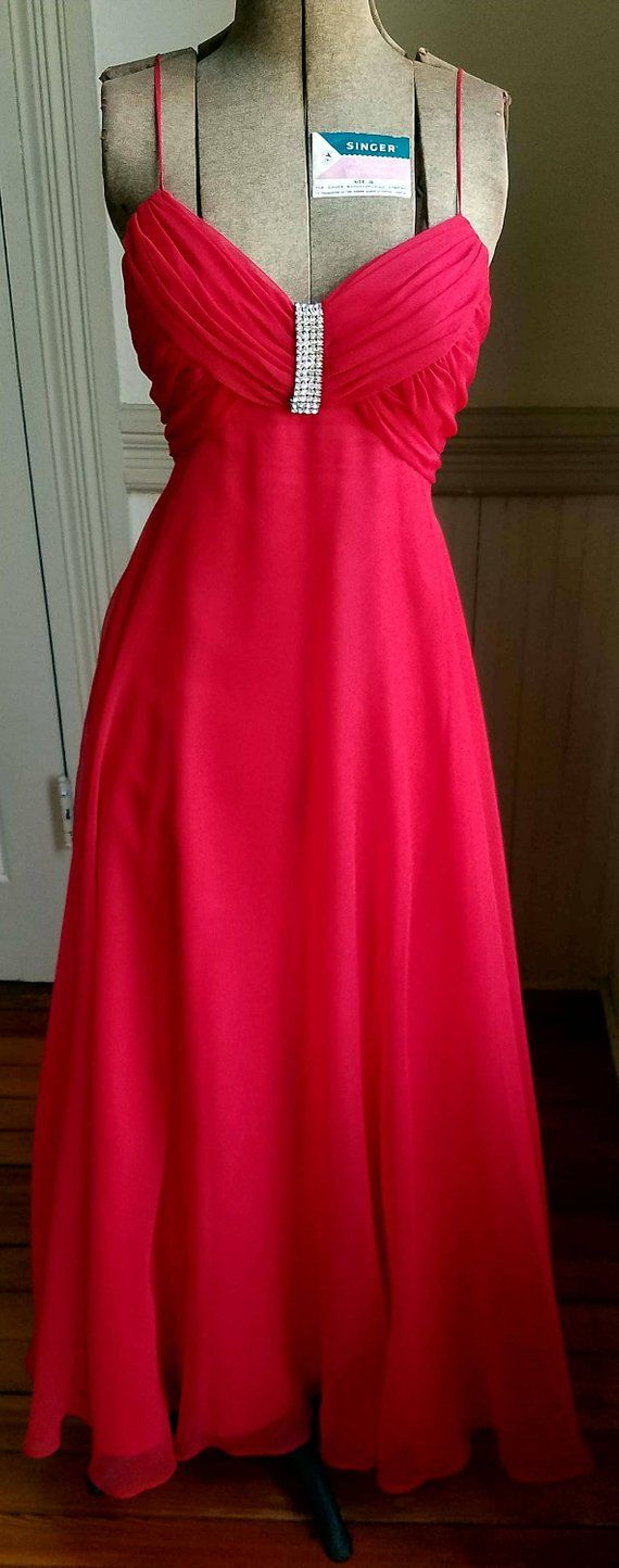 90s Prom Dress Red Chiffon Vintage Mike Benet Formals Etsy Red Prom Dress Red Chiffon Red Dress [ 1444 x 570 Pixel ]