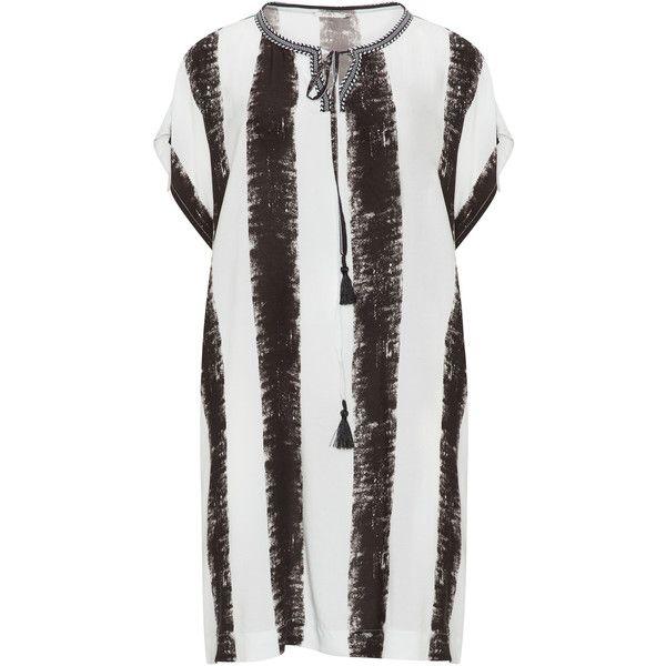 Mat White / Black Plus Size Tassel detail striped dress ($100) ❤ liked on Polyvore featuring dresses, plus size, white, embroidered dress, white dresses, white embroidered dress, stripe dress and boho dresses