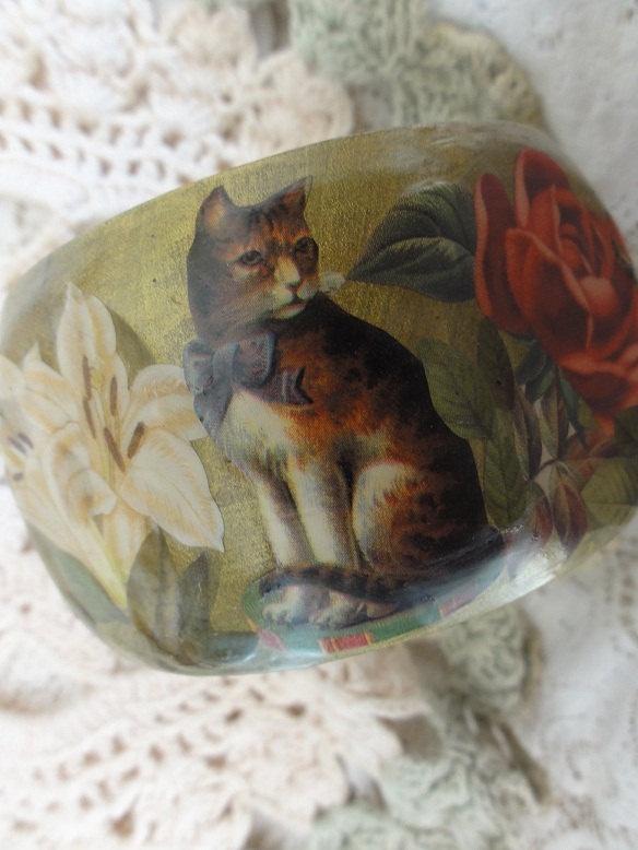 Pussy Cat Decoupage Wooden Bangle Bracelet XL. $90.00, via Etsy.