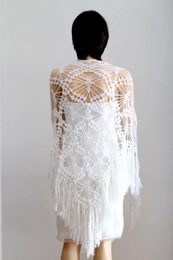 Witte sjaal Lace witte sjaal omslag sjaal haakwerk door ettygeller