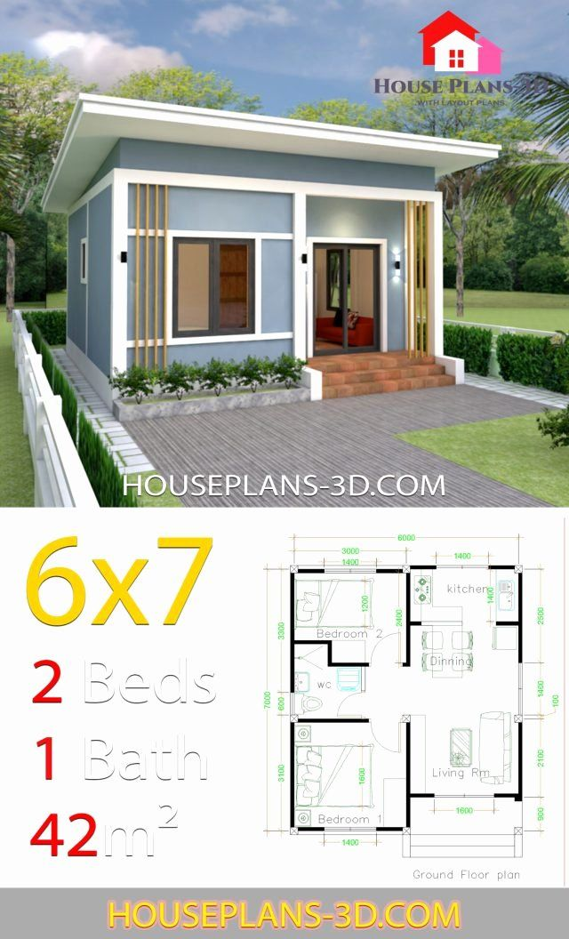 2 Bedrooms House Plans Fresh House Plans 6x7 With 2 Bedrooms Shed Roof Samphoas Plan In 2020 House Roof Simple House Plans Simple House