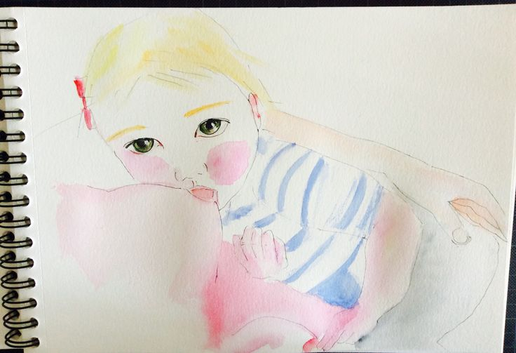 Watercolor sketch breastfeeding.