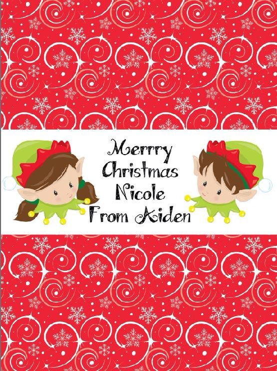 Cute brunette elves Chocolate wrapper printables by MillyBoo Designs