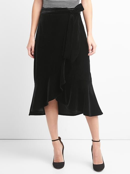 03811d081 Gap Womens Velvet Wrap Skirt True Black | Products | Skirts, Velvet ...