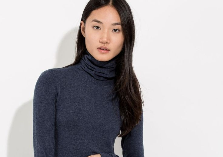 Winter Fashion Edit, Kit and Ace Willow Brushed Long Sleeve Polo Neck in Navy, £55.00