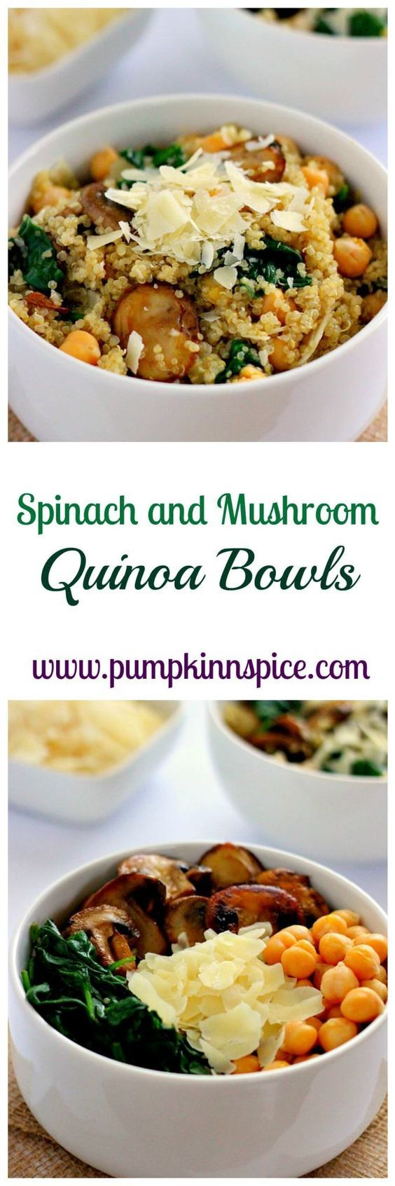 cool Spinach and Mushroom Quinoa Bowls