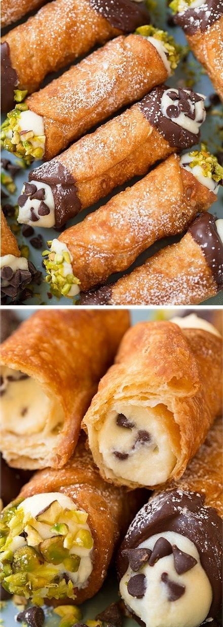 Cannoli~~Perfectly crisp shell and deliciously creamy filling. Just like the ones from Italian bakeries.