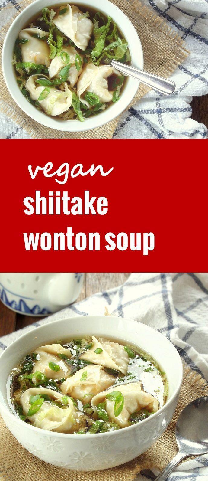 This vegan wonton soup is made with savory shiitake stuffed wontons, crispy napa cabbage and a light gingery broth.