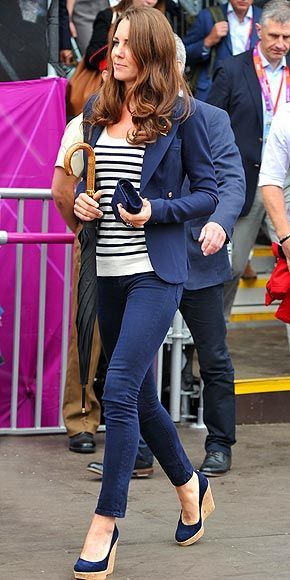 Kate Middleton's Olympic uniform: Smythe blazer, J Brand jeans, Stuart Weitzman wedges (we found a great, affordable lookalike for the shoes!)