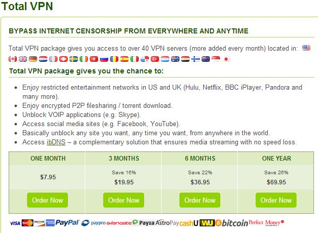 Total VPN package gives you access to over 40 VPN servers (more added every month) located in: United States, Canada, United Kingdom, Germany, Netherlands, France, Switzerland, Sweden, Ireland, Hong Kong, Russia, Romania, Spain, Italy, Panama, Turkey, Luxembourg, Australia, Egypt, Finland, New Zeeland, Singapore and Japan.