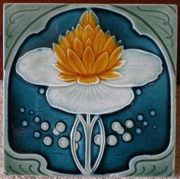Antique Art Nouveau, Majolica Ceramic Tile