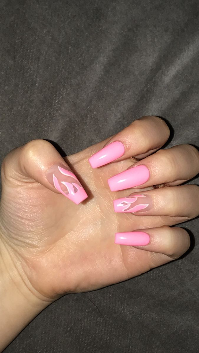 Pink Flame Acrylics In 2020 Bright Pink Nails Cute Pink Nails Bright Acrylic Nails