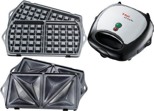 Sandwich Grill & Waffle Maker Electric Cooker Breakfast Nonstick Removable Trays #Tfal