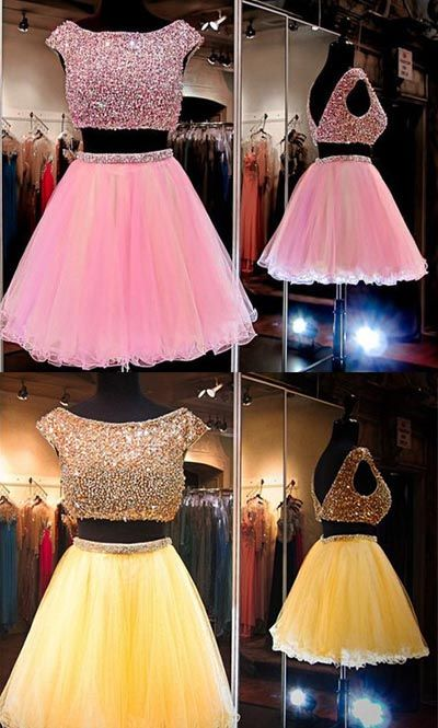 d63945e2fc4 Pink Homecoming Dress with Sequins