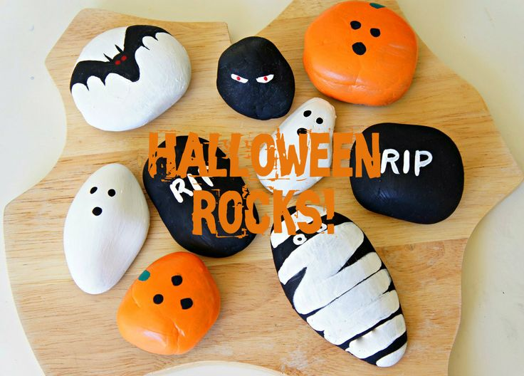 Painting Halloween Rocks. Fun activity for preschoolers and kids.