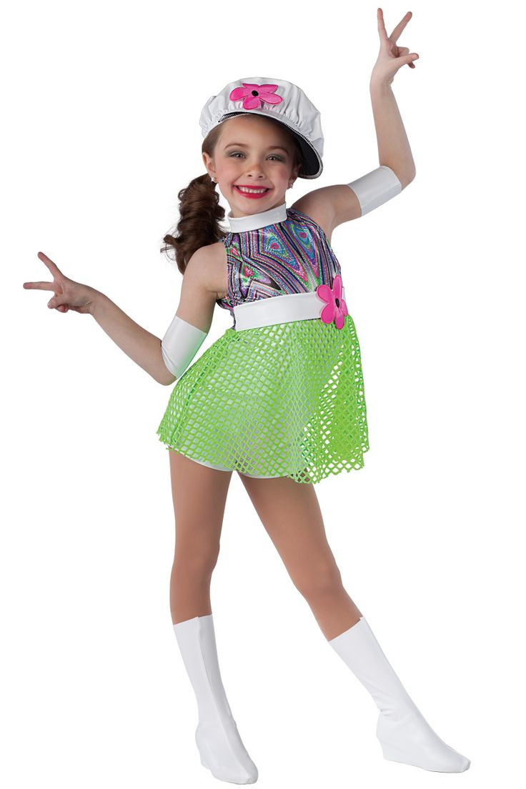 15168 It's Groovy Baby | Kids Showcase / First Performance / Dance Costumes / Recital Wear | Dansco 2015 | Multi-color foil printed spandex and white fantasy spandex short unitard with attached lime mesh skirt and matching belt. Flower applique trim. Headpiece, arm bands and boot covers included.