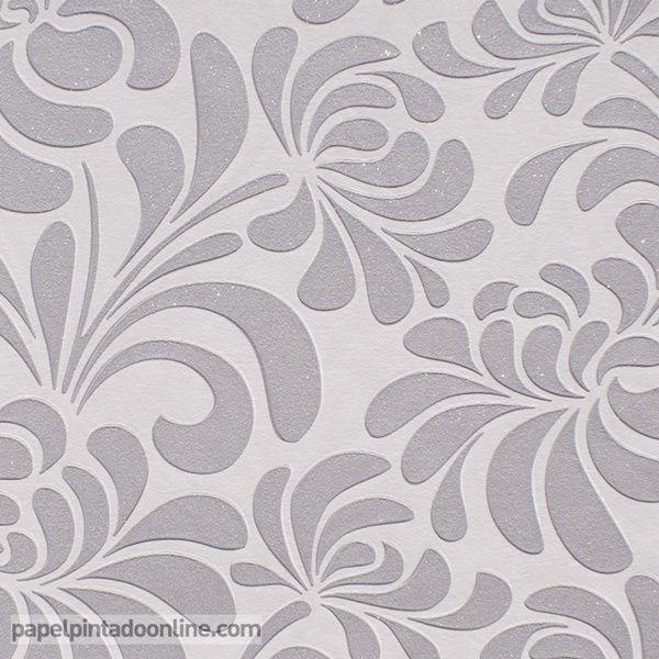 Papel pintado uptown up 07 08 1 con estampado floral en color gris plata sobre fondo gris claro - Papel pintado color plata ...