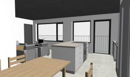 Köket i B1501   Jag tänker mig ett runt bord som köksbord med några stolar som syns runtom.   2 st fåtöljer i model typ Howard placeras lika bilden.
