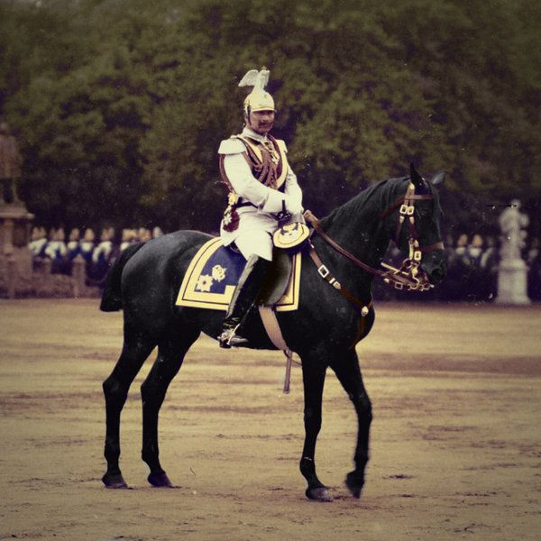 Kaiser Wilhelm II on parade. His photos were carefully taken to hide his deformed arm.