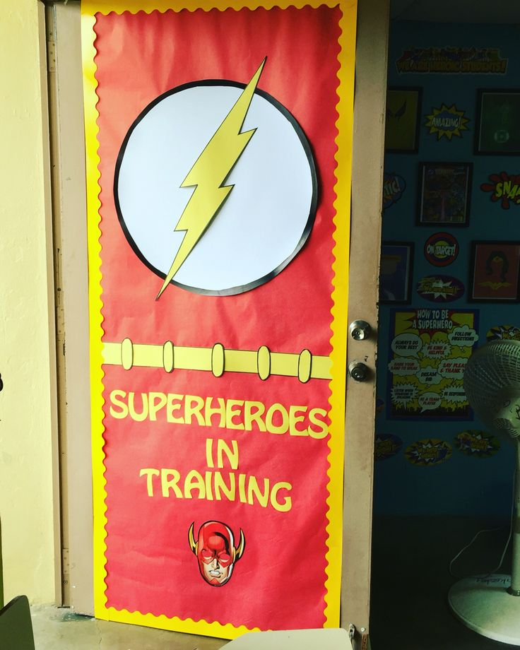 Flash classroom door superhero door