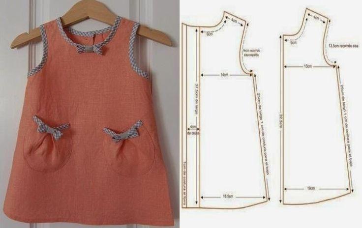 VESTIDO DE CRIANÇA 3 A 4 ANOS COM MEDIDAS - 2 ~ Moda e Dicas de Costura #DIY-Crafts