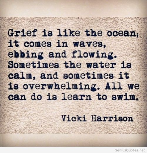Grief is like the ocean it comes in waves, ebbing and flowing.  Sometimes the water is calm, and sometimes it is overwhelming.  All we can do is learn to swim.  | Vicki Harrison quote |