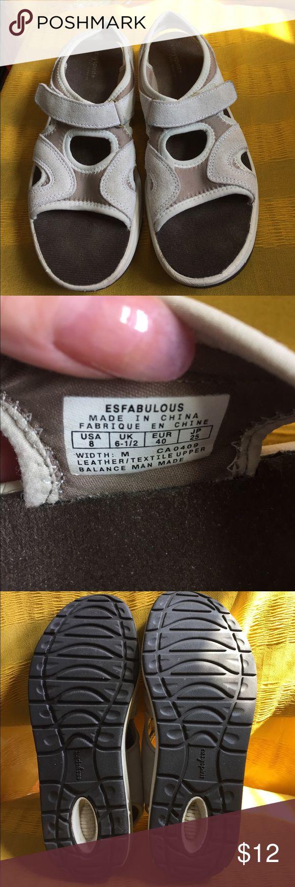 Easy Spirit sandals Great walking sandals! Velcro fastener , anti gravity, tan suede Easyspirit Shoes Sandals