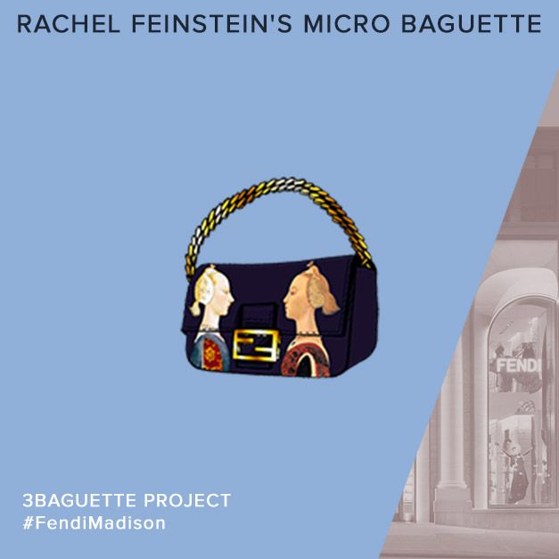 A preview of the Fendi Micro Baguette personalized by Rachel Feinstein for a charity auction in celebration of the Madison Avenue boutique opening
