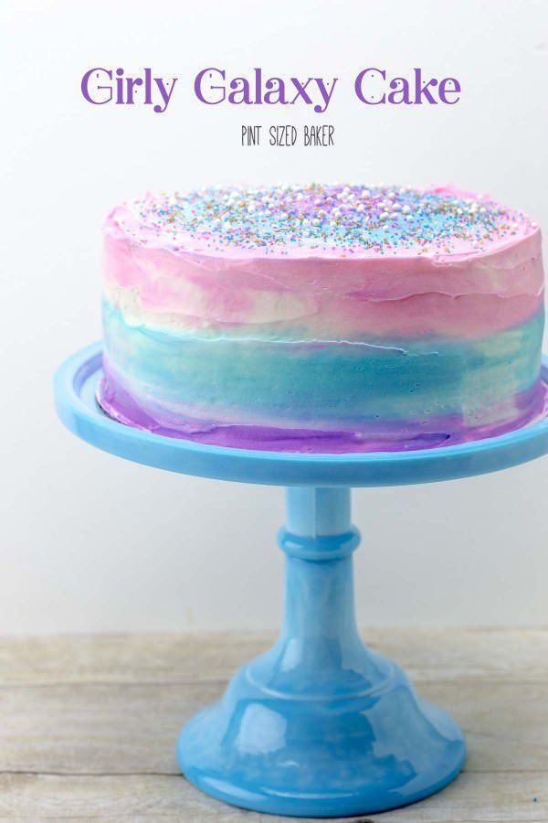 Pink, Blue and Purple! This Galaxy Cake is sure to make a big impression on all of your guests!