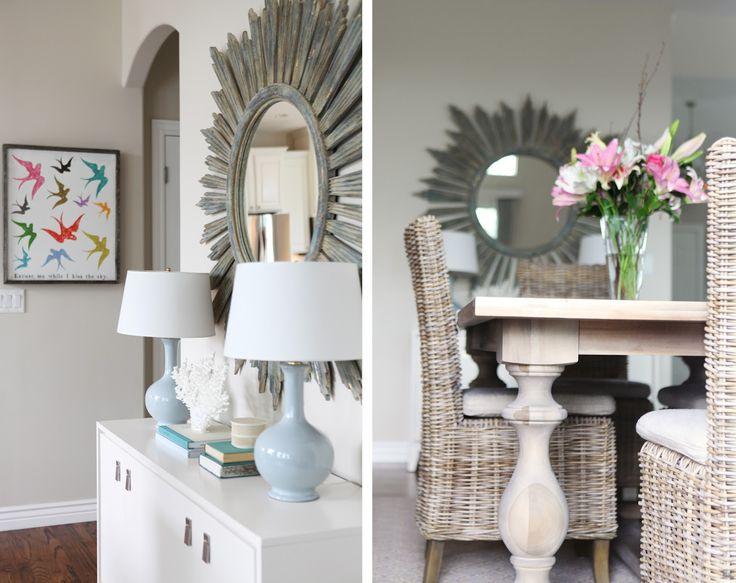caitlin wilson design: style files: E-design with Jana Bek: Interiors Decor Furniture Cool, Beach House, Style, Sunburst Mirror, E Design, Dream House, Decorating Ideas, Bird Prints